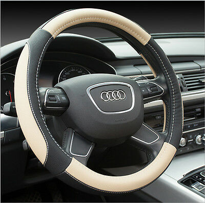 38CM Soft Leather Auto Car Steering Wheel Wrap Cover Black&Beige For BMW Ford