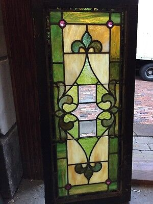 "Sg 905 Antique Stainglass Transom Window 16"" X 36"""