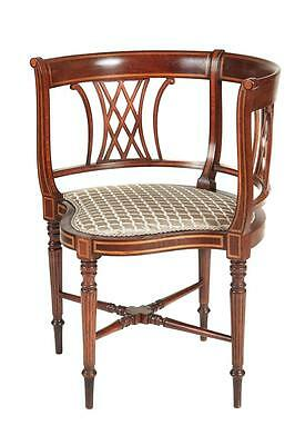 Early 20Th Century Inlaid Edwardian Mahogany Corner Chair