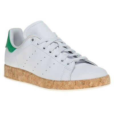 New Womens adidas White Stan Smith Luxe Leather Trainers Court Lace Up