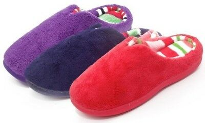 Wholesale Lot of 30prs WOMEN'S SLIPPER WITH PLUSH STRIPE LINED, Only $2.99 pr