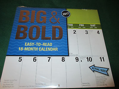 ONE Jumbo BIG BOLD LARGE EASY-to-READ 18 MOS 2017 Calendar WALL - PROTECTED NEW