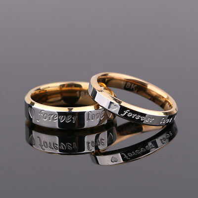 Couple Men/Women Rings Forever Love Silver Steel His&Her Wedding Engagement Band