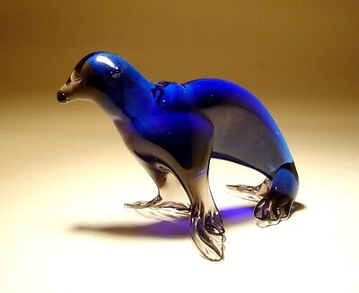 "Blown Glass ""Murano"" Art Figurine Animal Sea Creature Blue SEA LION"