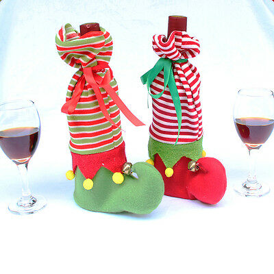 Christmas Wine Stocking Bottle Glass Cup Cover Bags Holder Xmas Dinner Party Dec