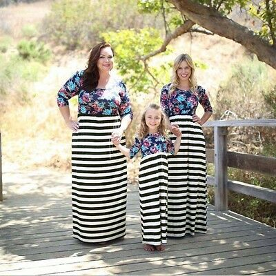 Floral Clothes Mother Daughter Dresses Womens Plus Size Kids Girls Long Dress