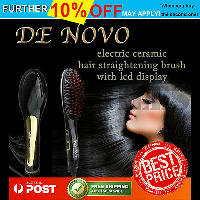 Hair Straightener LCD Brush Electric Straightening Comb Ceramic Heat Iron DeNovo