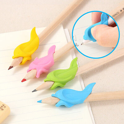 10Pcs Soft Silicone Fish Shape Pencil Pen Grip School Writing Handwriting Supply