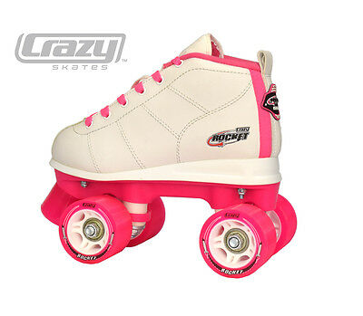 Crazy ROCKET - Best Aussie Roller Skates, PINK/WHITE  Kids Rollerskates NEW!