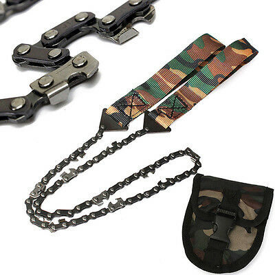 Camo Portable Hand Chain Saw Tool Wire Camping Hiking Survival Emergency Outdoor