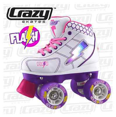 Crazy GIRLS! - LED LIGHT UP Roller Skates, White/Purple, FUN! FUN! FUN!