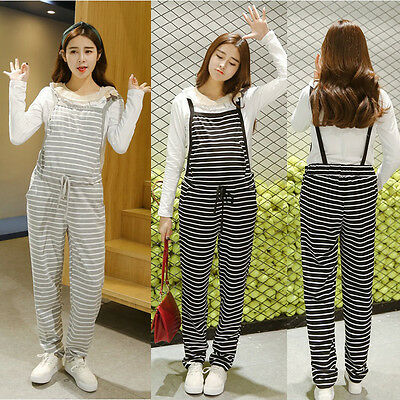 Striped Jumpsuits Overalls Pants Dungarees Trousers Cotton Waist Ties Comfy M/L