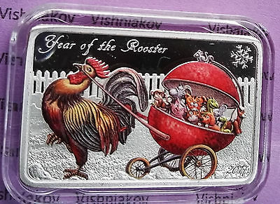 """silver coin  """"Year of the Rooster"""", 2017,  Congo"""