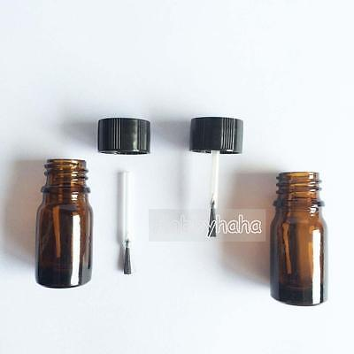 5pcs 5ml Brown Glass Bottle With A Brush Cover Oil Bottles High Quality
