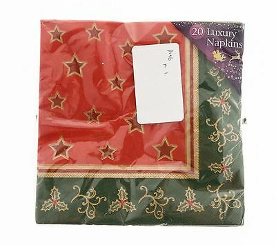 20 Red And Green Star Design Luxury Christmas Napkins 33cm x 33cm