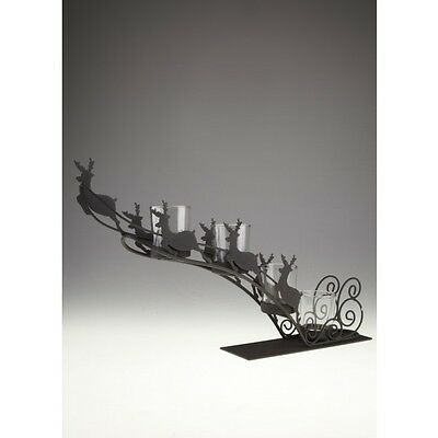 Heaven Sends Large Flying Reindeer and Sleigh Tealight Christmas Candle Holder
