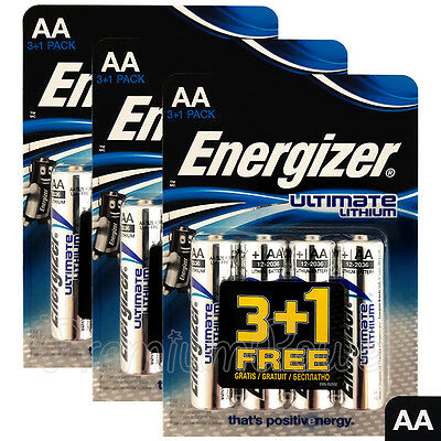 12 x Energizer Ultimate Lithium AA batteries 1.5V L91 LR6 MN1500 Camera EXP:2036