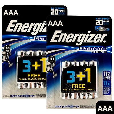 8 x Energizer Ultimate Lithium AAA batteries 1.5V L92 LR03 MN2400 Micro EXP:2035