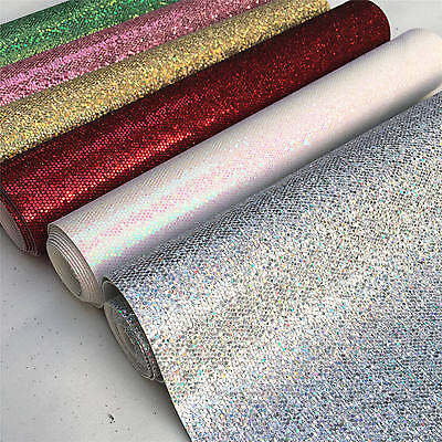 Sparkling Hexagon Glitter Fabric Sheet Faux Leather Craft Bow Decor 25*138cm
