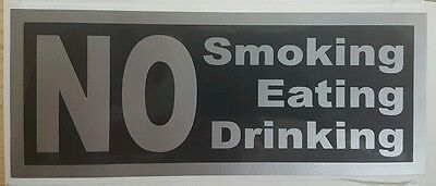 2 x NO Smoking Eating Drinking Sign, Black & Silver Taxi company cars stickers