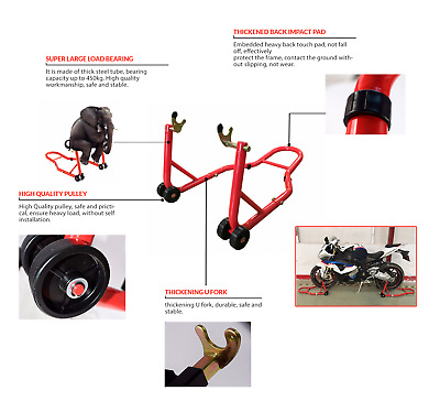 Red Universal Rear Standard Fork Motorcycle Motorbike Bike Paddock Stand Lift