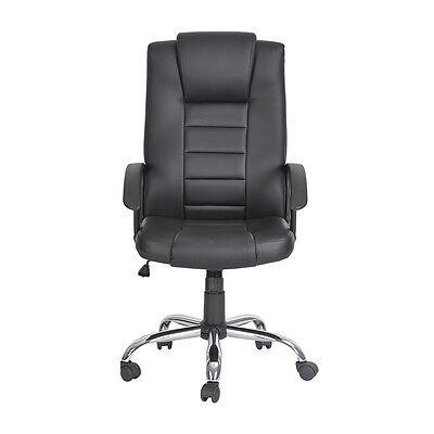 Black High Back PU Leather  Office Ergonomic Computer Desk  Task Chair