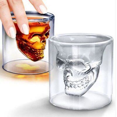 New Skull Head Shot Glass Fun Creative Designer Crystal Party Wine Cup lot GH