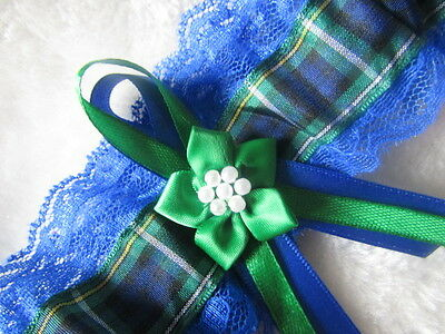 Campbell Scottish Tartan Wedding Garter Royal Blue Lace Ribbon & Green Flower.