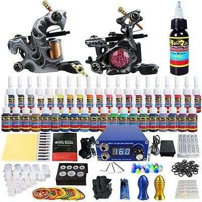 NEXT DAY DELIVERY Complete Beginner Solong Tattoo Kit 2 Pro Machine Guns 40 Inks