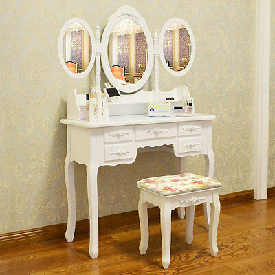 New Shabby Chic Dressing Table with Stool Oval Mirror Bedroom Vanity Makeup Desk