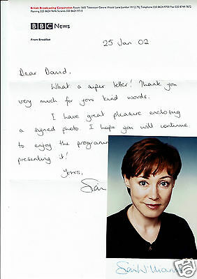 Sian Williams News reader Hand Signed Photograph and BBC Header letter  6 x 4