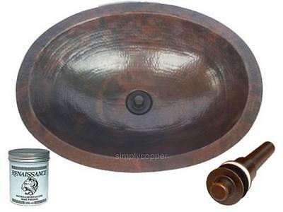 """19"""" Oval Rustic Copper Hammered Bath Sink with Drain & Wax"""