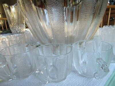 Vtg Jeanette Glass Co. Large Punch Bowl w/Stand and 15 Cups-Dewdrop Pat.--SALE