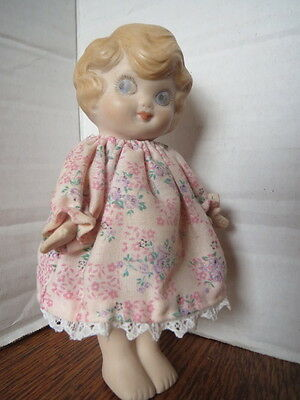 """Vtg 1930's 6"""" BISQUE DOLL Big Blue Eyes HAND PAINTED Jointed Arms ORIGINAL DRESS"""