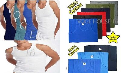 6 X MENS VESTS 100% Cotton TANK TOP SUMMER TRAINING GYM TOPS PACK WHITE& COLOUR