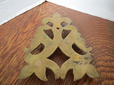 "Antique BRASS TRIVET 3 Footed CAST 6.5"" x 4.5"" PRIMITIVE"
