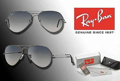 New Ray-Ban Original Aviator 3025 Rb3025 55 Blue Polarized Lens / Gunmetal Frame