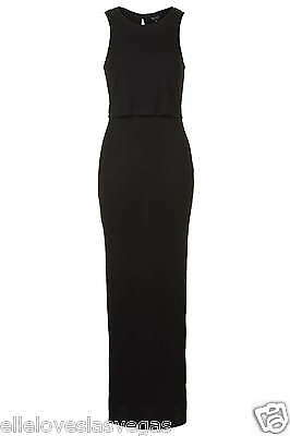 Brand New Topshop Maternity Black Ribbed Jersey Overlay Maxi Dress 8,10,12,14,16