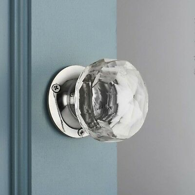 Faceted Glass Internal Turning Mortice Door Knobs Pair
