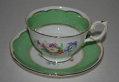 Vintage Crown Staffordshire Green Floral Tea Cup With Saucer