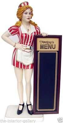 Fifties Diner Waitress with Menu Board - Butler Statue - Waitress with Menu 5.5'