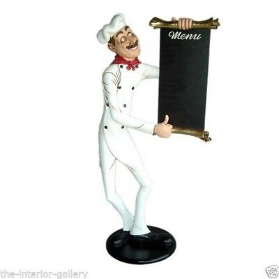 Chef Cook with Menu Sign Life Size - Food Sign - Skinny Chef with Menu 6 FT