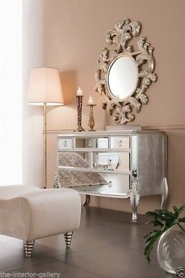 Dresser - 6 Drawer Bedroom Chest - Long Chest of Drawers - Mirrored Florentine