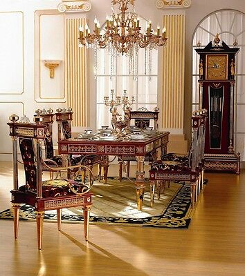 Dining Set- Venetian Dining Room Table & Chairs- 24kt Gold Plated-Italian Fabric