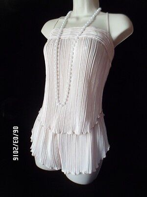 Vintage Hollywood Glamour Silky Lingerie Champagne Camisole & Shorts Sleepwear
