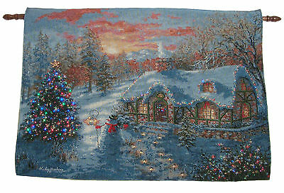 Christmas Cottage Fiber Optic Lighted Wall Hanging Tapestry Print Nicky Boehme