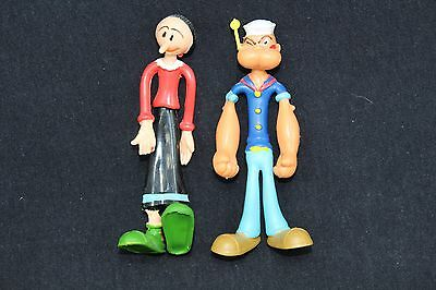 "Popeye and Olive Oil figurines 4"" tall soft rubber"