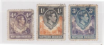 (STF-43) 1938 North Rhodesia mix of 3 KGVI 1/-, 4d & 3/-