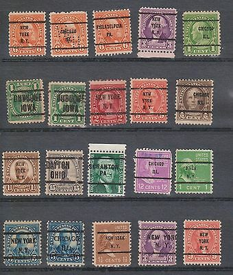 (STF-169) 1920-40 USA 22 stamps pre cancelled