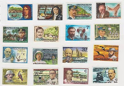 (STE-17) 1977 Christmas Island 16set famous visitors 1c to $2 MH